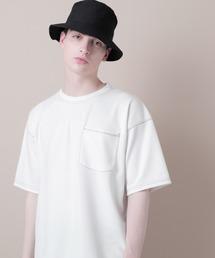 ポンチローマオーバーサイズハーフスリーブ ステッチカットソー(EMMA CLOTHES)ホワイト