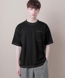 ポンチローマオーバーサイズハーフスリーブ ステッチカットソー(EMMA CLOTHES)ブラック