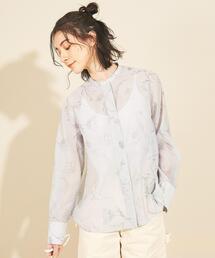 BY∴ オーガンジーフラワープリントバンドカラーシャツ -ウォッシャブル-