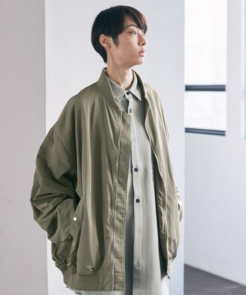 ブライトサテンファブリックビッグシルエットワイドスリーブブルゾン/ワイドMA-1【EMMA CLOTHES/エマクローズ】