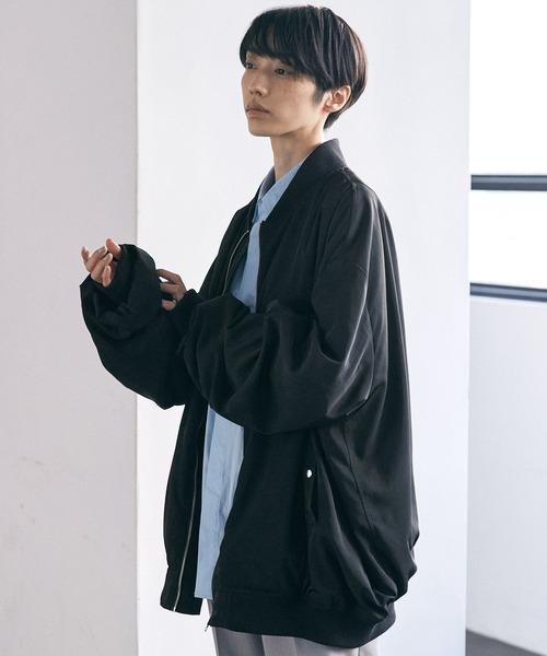 ブライトサテンファブリックビッグシルエットワイドスリーブブルゾン/ワイドMA-1【EMMA CLOTHES/エマクローズ】2021SPRING