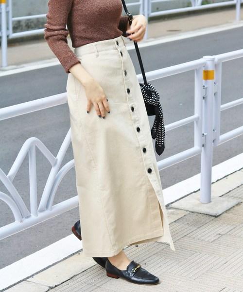 IENA(イエナ)の「コール前ボタンスカート◆(スカート)」|ホワイト