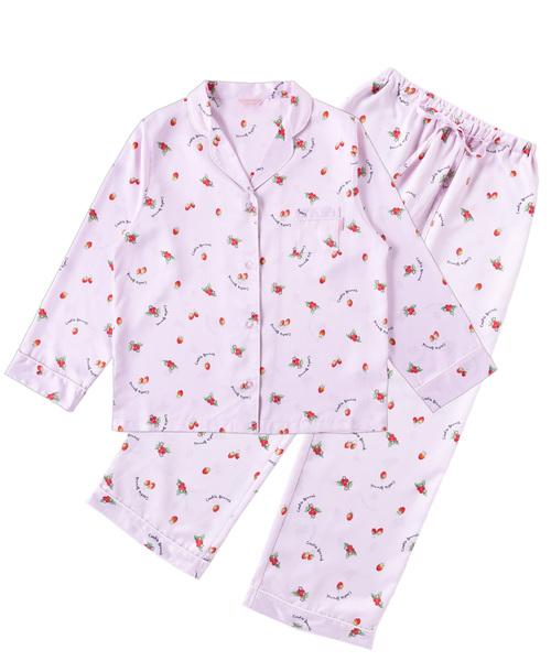 Cookie Brunch(クッキーブランチ)の「《Cookie Brunch》イチゴ柄 サテン 長袖シャツパジャマ(ルームウェア/パジャマ)」|ピンク