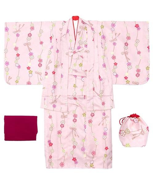 着物 CCM B キッズ 5点セット(着物、羽織、襦袢、帯、巾着) WY-20 子供 女の子 お正月 七五三 雛祭り