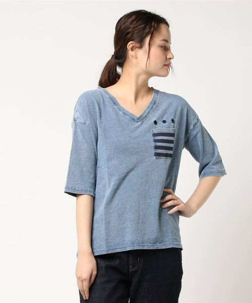UNDERWRAPS / アンダーラップス ポケ付きVネック七分袖Tシャツ(STAR)