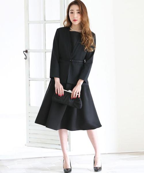 ファッションの ジャケット ワンピース セットアップ セットアップ フォーマル スーツ ベルト付き DRESS【3点セット】結婚式 ブラックフォーマル フォーマル 喪服(セットアップ)|DRESS LAB(ドレスラボ)のファッション通販, bussel store:552561fc --- 888tattoo.eu.org