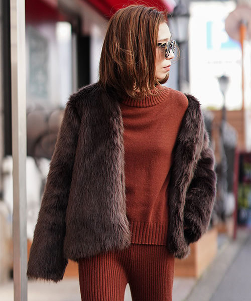2018セール Eco TRUNC Fur Fur Jacket(ノーカラージャケット)|TRUNC 88(トランクエイティーエイト)のファッション通販, アンティナギフトスタジオ:662d9ae4 --- 888tattoo.eu.org