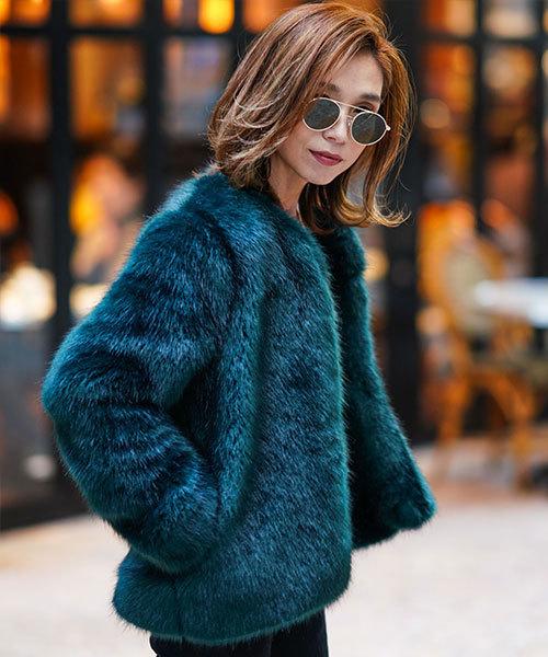 本物の Eco Fur Jacket(ノーカラージャケット) Fur TRUNC 88(トランクエイティーエイト)のファッション通販, 網走郡:332f4fe7 --- 888tattoo.eu.org