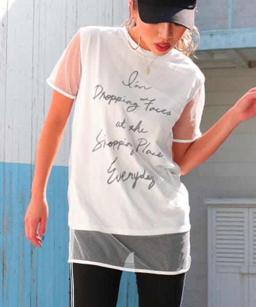 チュールレイヤードロゴプリントTシャツ