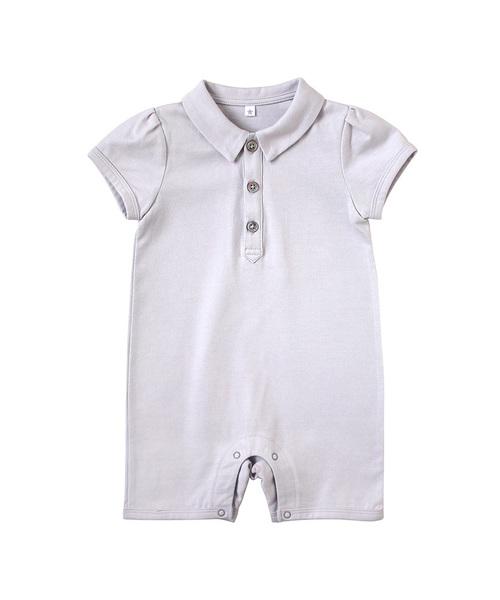 10mois(ディモワ)の「10mois(ディモワ) シャツ襟ショートオール(ロンパース)」|グレー