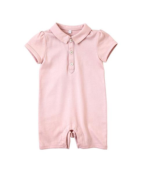 10mois(ディモワ)の「10mois(ディモワ) シャツ襟ショートオール(ロンパース)」 ピンク