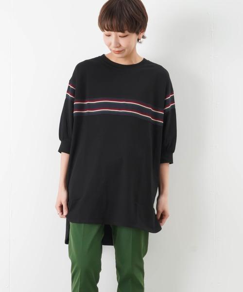 malla(マーラ)の「malla マーラ マルチボーダーチュニック(Tシャツ/カットソー)」|ブラック