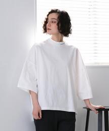 FEELING MADE ブラッシュドコットン ボトルネック ジャガードロゴ Tシャツ