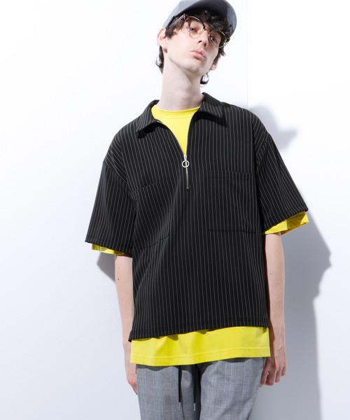 TRダブルポケットストライプ半袖ハーフZIPシャツ
