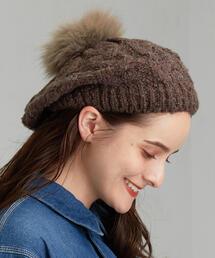 CFC FOXFUR ニットケーブル ベレー帽