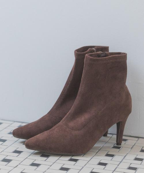 Andemiu(アンデミュウ)の「ストレッチショートブーツ915101(ブーツ)」|ブラウン