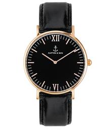 KAPTEN&SON(キャプテンアンドサン)の【KAPTEN&SON】ローズゴールド 36mm ブラック レザーバンド(腕時計)