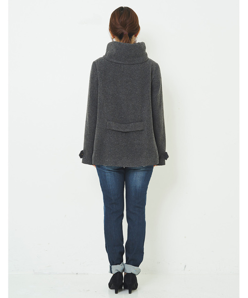 IEDIT どんなボトムスにも合わせやすい ストールいらずの衿高ショート丈フードコート〈チャコールグレー〉