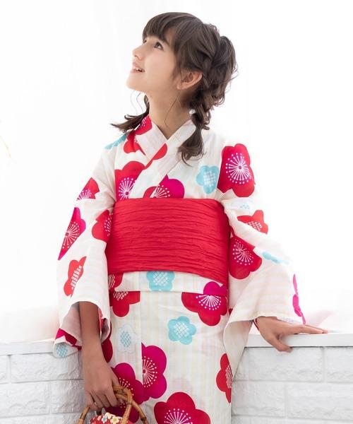 浴衣セット ジュニア レトロ 変わり織 3点セット(浴衣、作り帯、下駄)