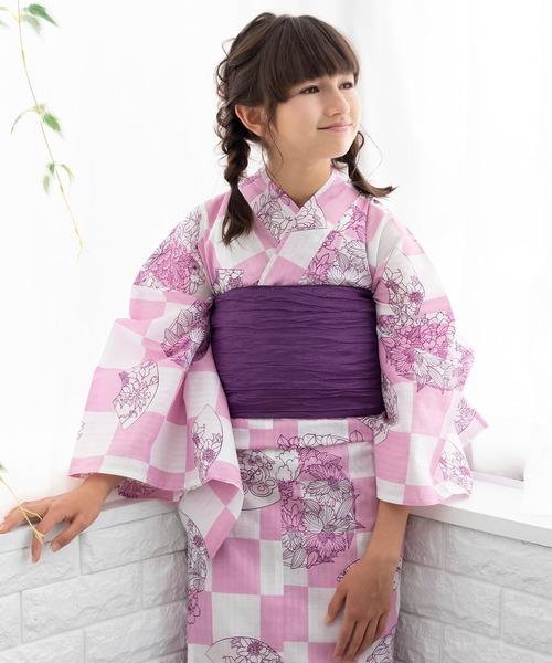 a3b437eae57cf5 KYOETSU(キョウエツ)の「KYOETSU/キョウエツ」浴衣セット ジュニア レトロ 変わり織