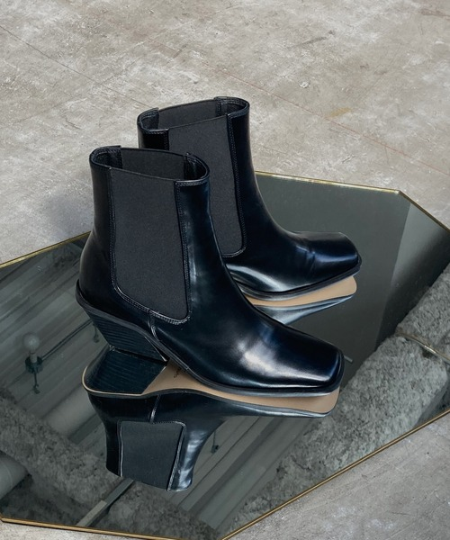 【chuclla】【2020/AW】Diagonal cut heel boots chs93