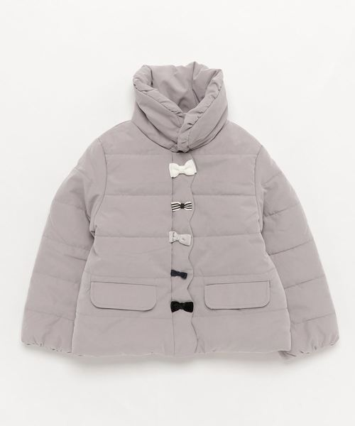 1be2cff535101 petit main(プティマイン)の中綿リボンジャケット(ダウンジャケット コート)