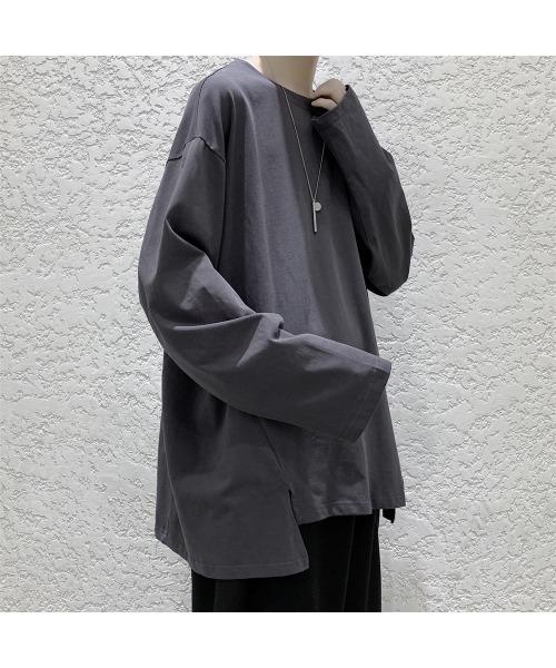 スリットデザイン ロンT 長袖Tシャツ
