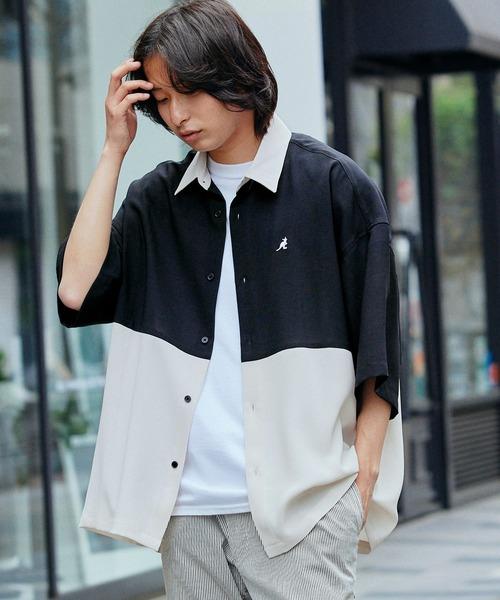 KANGOL/カンゴール 別注 ブライトポプリン オーバーサイズ  ヨーク切替 1/2 sleeve レギュラーカラーシャツ