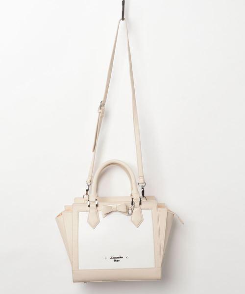 100%正規品 ホワイトバイカラー Samantha リボンパスケース付きトートバッグ(中)(ハンドバッグ) Samantha Vega(サマンサベガ)のファッション通販, 【送料込】:6a93a557 --- hausundgartentipps.de
