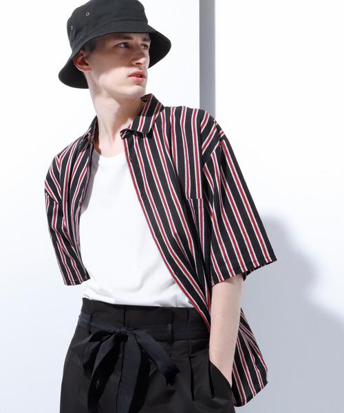 綿麻ストライプ半袖ビッグシルエットシャツ