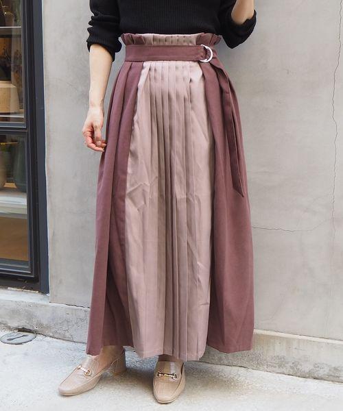 tiptop(ティップトップ)の「プリーツ切り替えフレアスカート(スカート)」|ブラウン