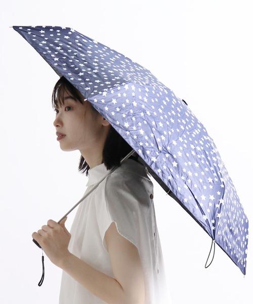 晴雨兼用傘 C/C星柄プリントショートワイド 27386