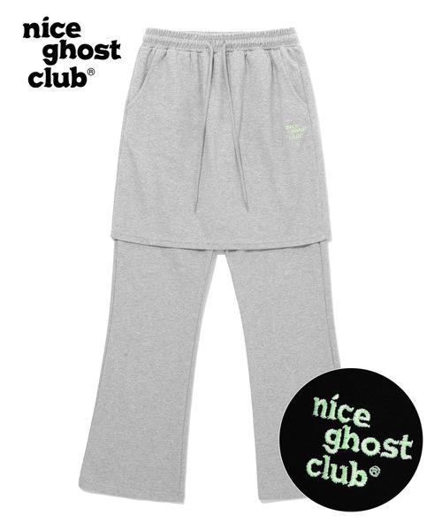 【ISTKUNST / nice ghost club】LOGO SWEAT SKIRT PANTS / ナイスゴーストクラブ ロゴ スウェット スカート パンツ