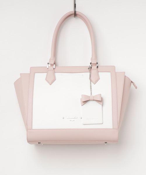 品質一番の ホワイトバイカラー リボンパスケース付きトートバッグ(大)(ハンドバッグ)|Samantha Vega(サマンサベガ)のファッション通販, ジャパンブリッジ:4b05cf8b --- talkonomy.com