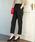 ViS(ビス)の「【EASY CARE&COOL TOUCH】ベルト付きテーパードパンツ(パンツ)」 ブラック