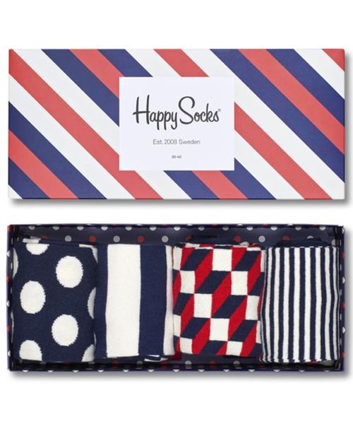 Happy Socks STRIPE 4足組 クルーソックス ギフトセット 1A147015