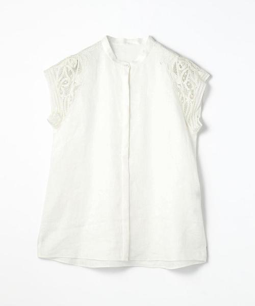 【WEB先行予約】リネンエンブロイダリー スタンドカラーシャツ