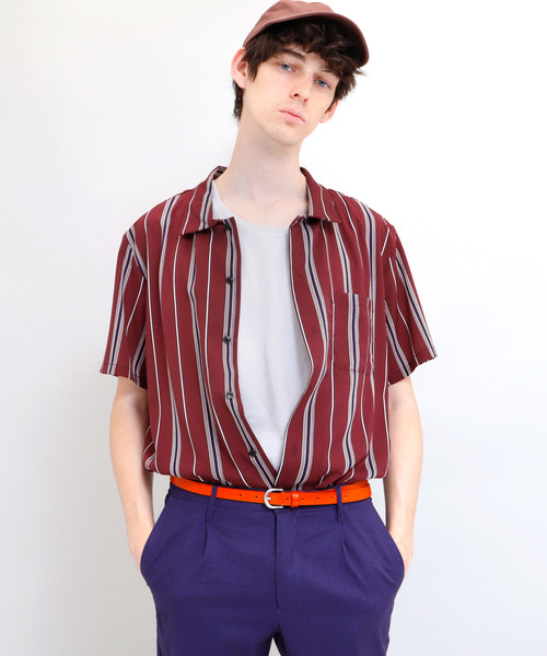 マルチストライプレギュラーカラー半袖シャツ