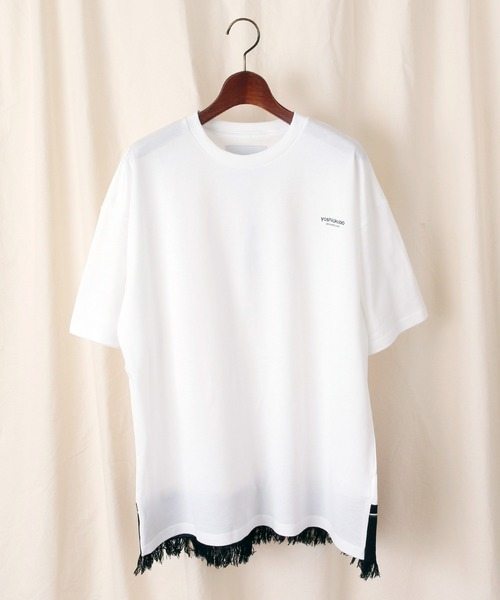 yoshiokubo(ヨシオクボ)の「yoshiokubo / ヨシオクボ FRINGE TAPE T-SHIRTS フリンジテープTシャツ / YKS20107(Tシャツ/カットソー)」|ホワイト