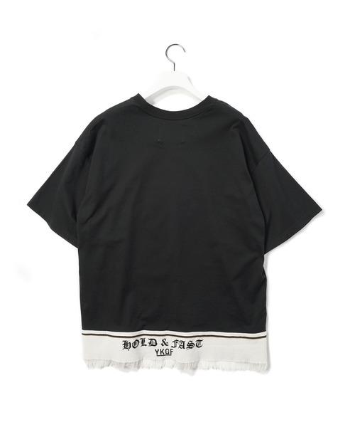 yoshiokubo(ヨシオクボ)の「yoshiokubo / ヨシオクボ FRINGE TAPE T-SHIRTS フリンジテープTシャツ / YKS20107(Tシャツ/カットソー)」|ブラック