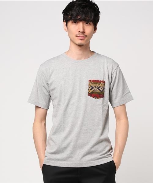 ZERO STAIN(ゼロステイン)×Nano-tec ポケット付きTシャツ/汗染みを防止/制菌効果/W機能 ポケットT