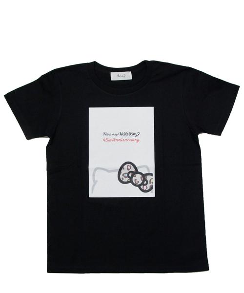ハローキティコラボ(ハローキティコラボ)の「ハローキティプリントTシャツ(Tシャツ/カットソー)」|ブラック
