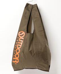 エコバッグ ショルダーバッグ 収納機能付き カラビナが付いているのでバッグにも取り付け可能カーキ