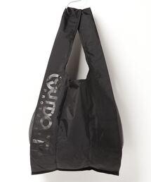 エコバッグ ショルダーバッグ 収納機能付き カラビナが付いているのでバッグにも取り付け可能ブラック