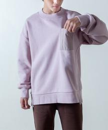 【&yam】異素材ポケット&サイドスリット入りドロップショルダー裏起毛スウェットピンク