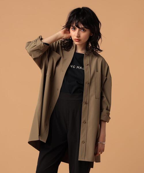 FEELING MADE ストレッチ&UVカット スタンドカラー オーバーサイズシャツ