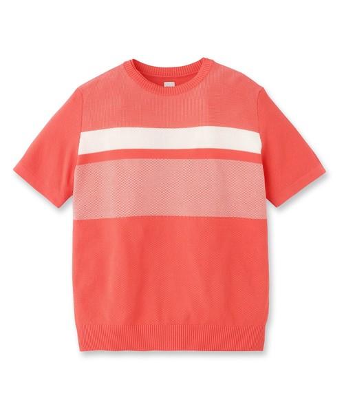 カラーパターンニットTシャツ [ メンズ Tシャツ ]
