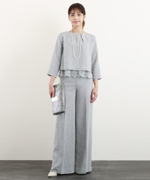 DRESS LAB(ドレスラボ)の「ツイード レース ボックス ワイドパンツ ロング パンツ スーツ フォーマル 【2点セット】結婚式(セットアップ)」|グレー