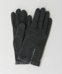 ジップ レザー トリミング グローブ 手袋 -タッチパネル対応-