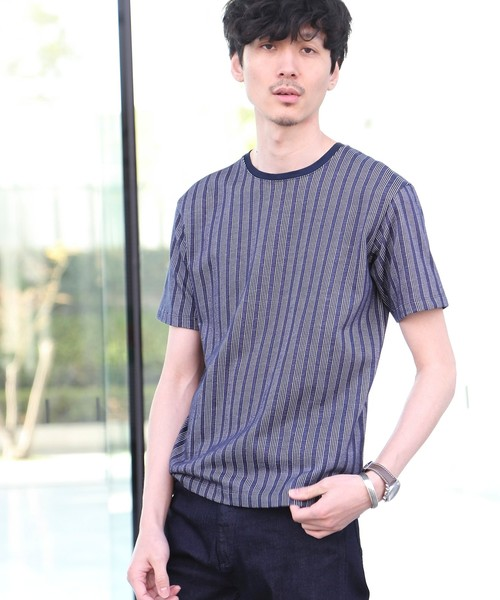 五線譜ストライププルオーバーTシャツ [ メンズ Tシャツ ]